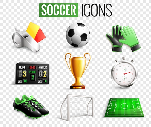 Soccer icons transparent set