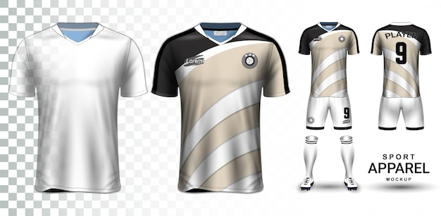 Soccer jersey and football kit presentation mockup template