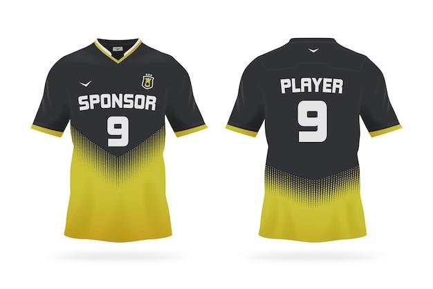 黒と黄色のサッカージャージ