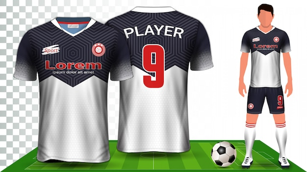 Soccer jersey, sport shirt or football kit uniform presentation template.