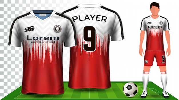 Soccer jersey, sport shirt or football kit uniform presentation.
