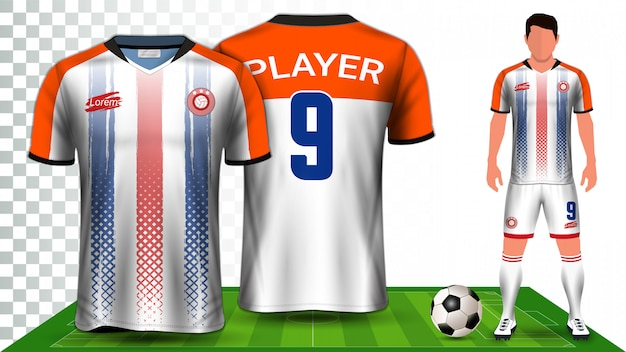 축구 유니폼, 스포츠 셔츠 또는 축구 키트 유니폼 프리젠 테이션 템플릿.
