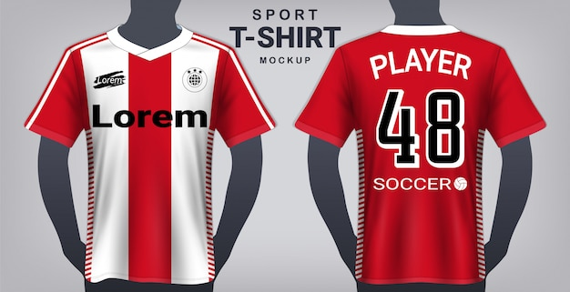 Soccer jersey and sport t-shirt mockup template.
