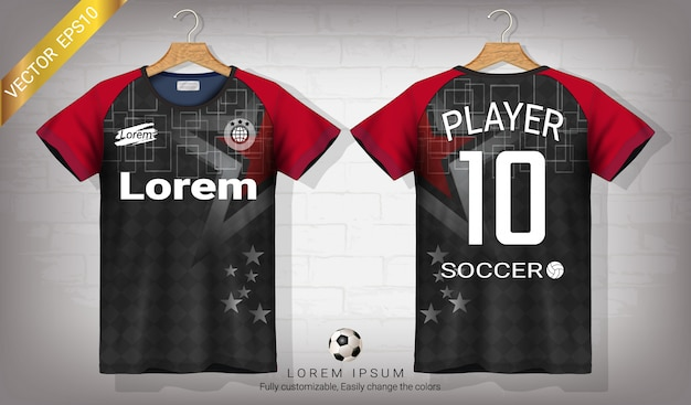Soccer jersey and t-shirt sport mockup template.