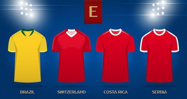 ワールドカップ2018のサッカーキットやサッカージャージーのテンプレートデザイン。