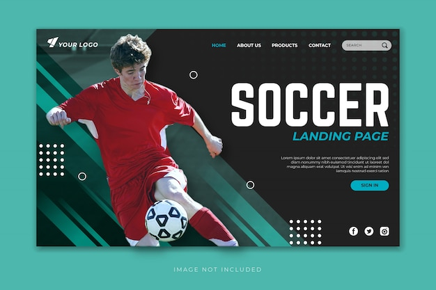 Soccer landing page template