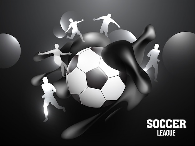 Soccer league banner or poster design with soccer ball
