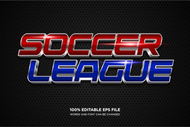 Soccer league editable text style effect