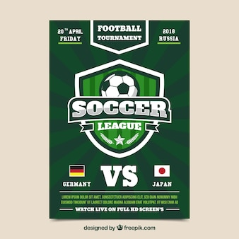 Soccer league flyer with ball in flat style