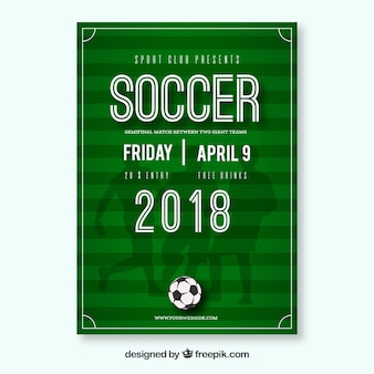 Soccer league flyer with ball and players silhouettes