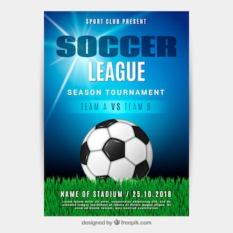 Soccer league flyer with ball in realistic style