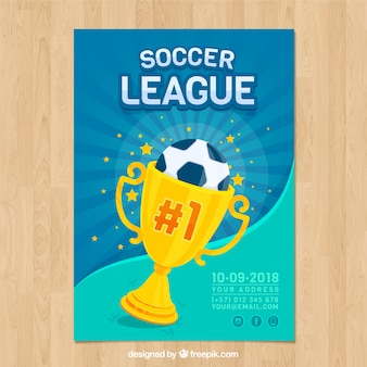 Soccer league flyer with ball and trophy