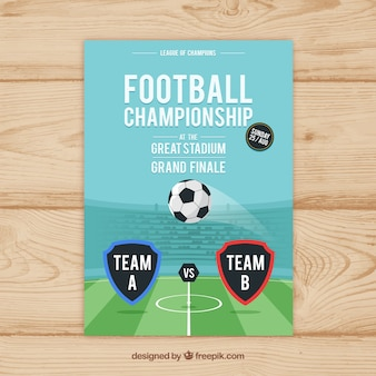 Soccer league flyer with ball