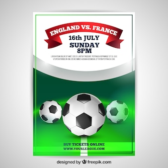 Soccer league flyer with balls in realistic style