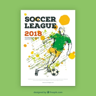Soccer league flyer with player in hand drawn style