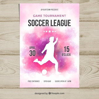 Soccer league flyer with player silhouette