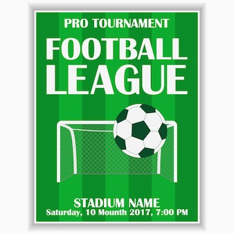 Soccer league poster design template for football sport invitation card on game
