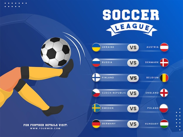 サッカー選手がボールを蹴るサッカーリーグのポスターデザインとさまざまな国