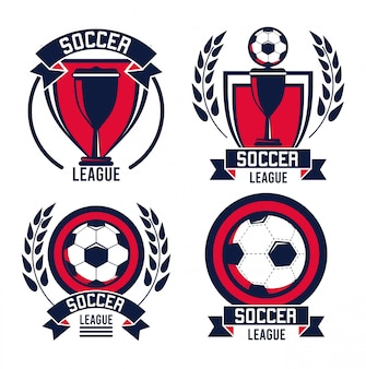 Soccer league sport poster with balloons and trophy cups