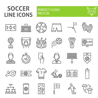 Soccer line icon set, football collection