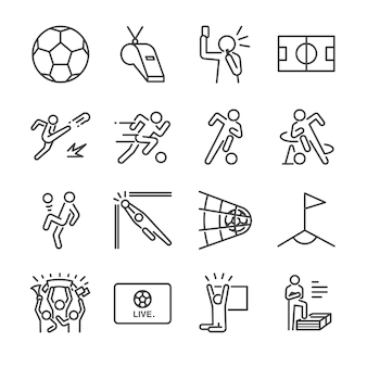 Soccer line icon set.