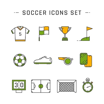Soccer line icons set design set