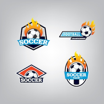 Soccer logo design set.
