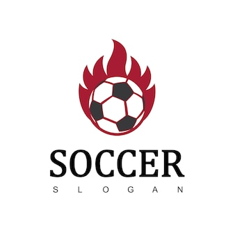 Soccer logo or football club sign, football logo with flame symbol