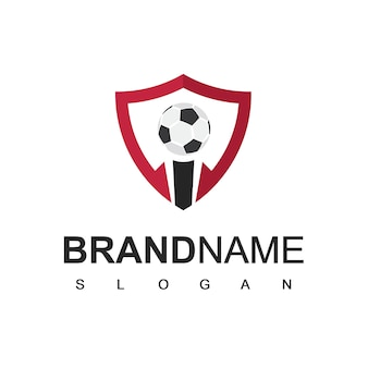 Soccer logo or football club sign, football logo with shield background