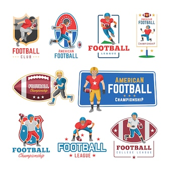 Soccer logo  footballer or soccerplayer character in sportswear playing with soccerball on football pitch illustration