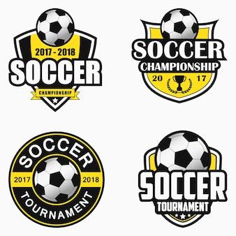 サッカーのロゴ。スポーツエンブレムデザインのセットです。ベクトルイラスト。