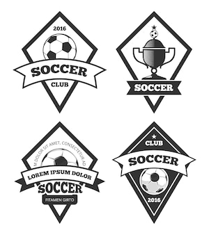 サッカーロゴテンプレートコレクション、白、白