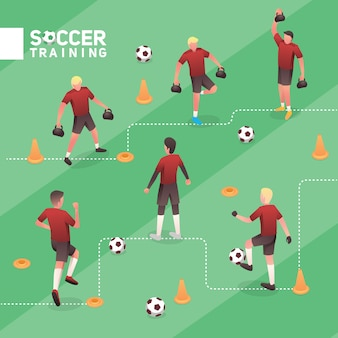 Soccer man red team training isometric vector illustration set