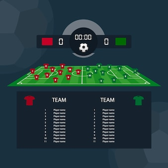 Soccer match scoreboard flat design between two example teams