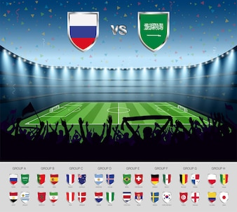 Soccer match world cup 2018. Soccer stadium with team flags