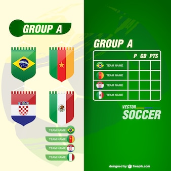Soccer matches groups and teams flags