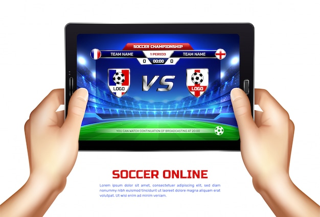 Soccer online broadcast illustration