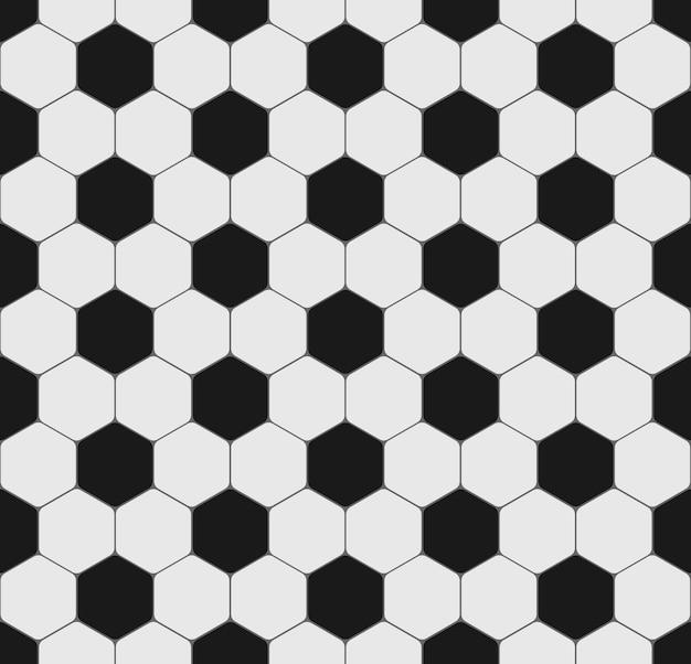 サッカーやサッカーボールのスポーツのシームレスなテクスチャ。チラシ、ポスター、ウェブサイト用の六角形の黒と白のパターン。バックグラウンド