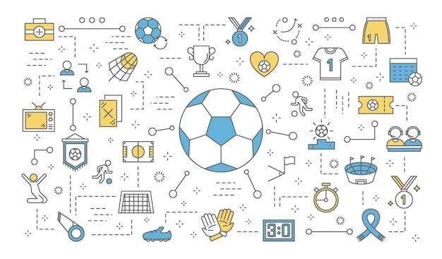 サッカーまたはフットボールのコンセプトです。サッカーのアイコンのセット:トロフィーカップ、ユニフォーム、ボール、スタジアム、その他。線図