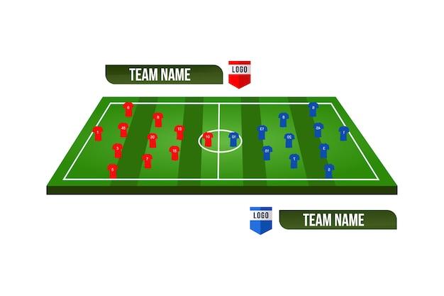 Футбольное поле или футбольное поле с формированием команды