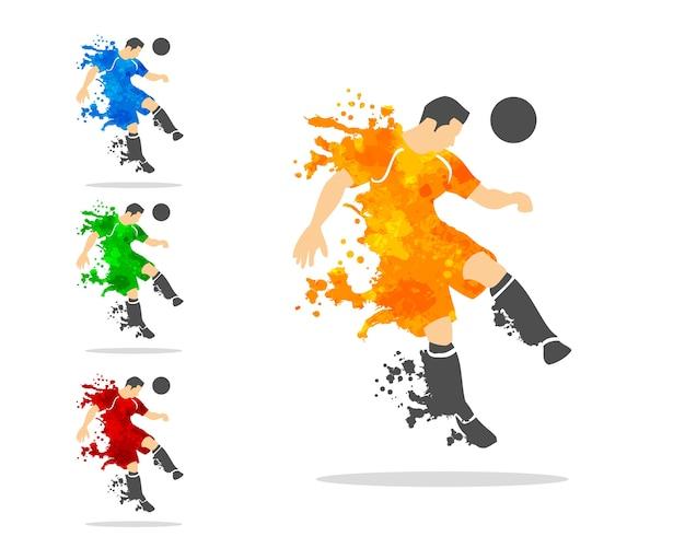 スプラッシュ・スプラットと水彩のアクションでサッカーやフットボールの選手