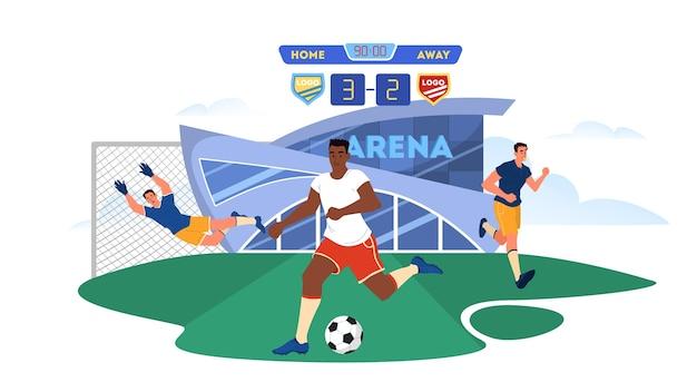 축구 또는 축구 선수가 필드에 공을 실행합니다. 게이트 앞에서 골키퍼. 심판은 경기를 관찰합니다. 경기장에 선수. 챔피언십 리그. 만화 삽화