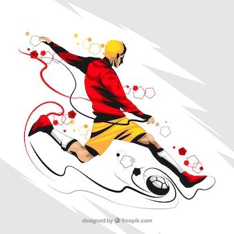 Футболист фоне абстрактного стиля