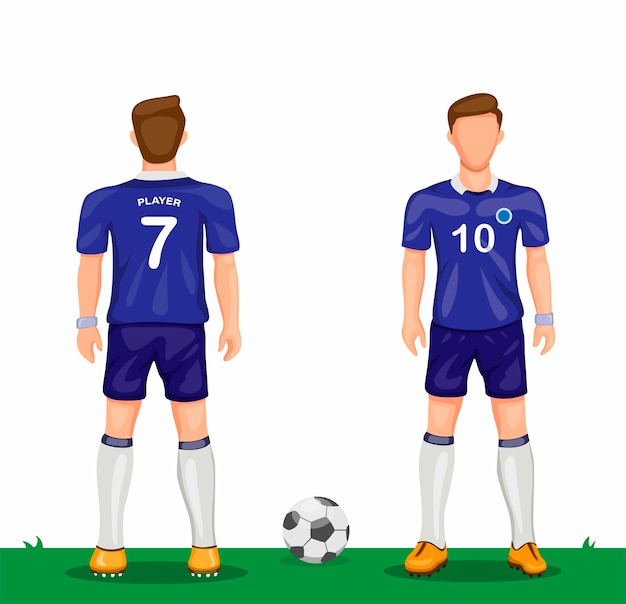 Soccer player in blue uniform symbol icon set from rear and front view sport soccer jersey concept in cartoon illustration