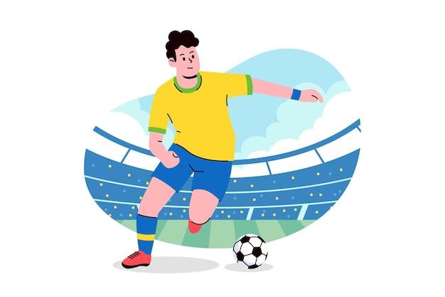 平らなイラストをドリブルするサッカー選手