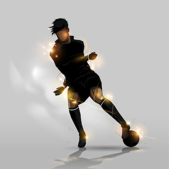 Soccer player dribbling with ball