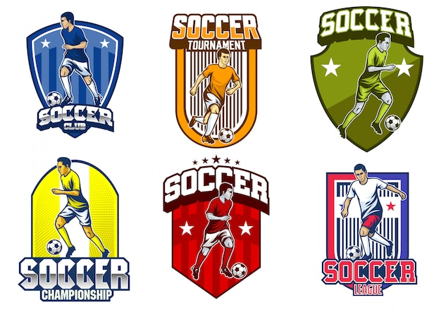 Soccer player emblem vector set