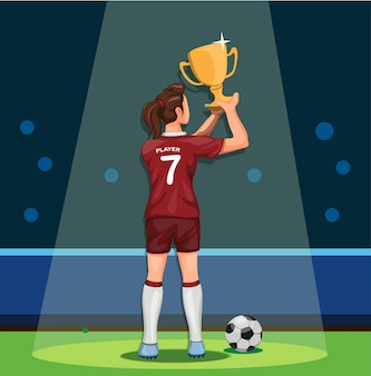 Soccer player female holding trophy winning champion celebration in cartoon.
