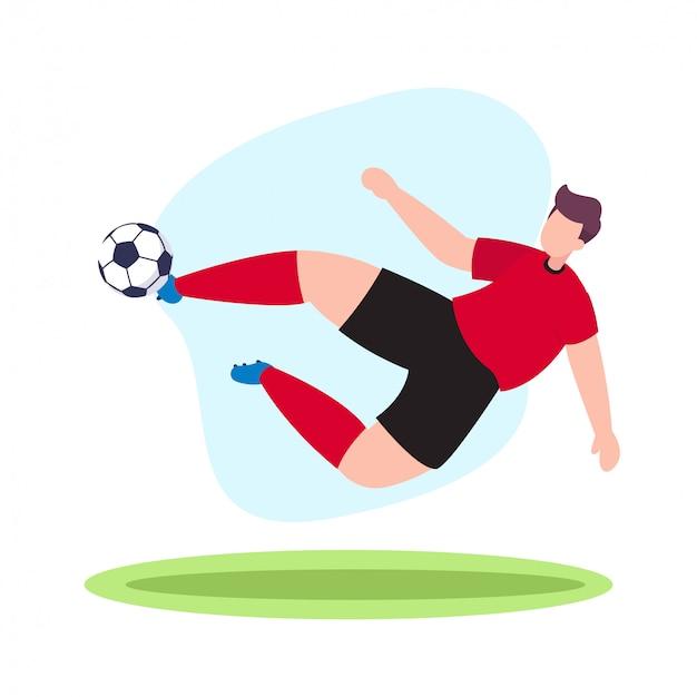 Футбольный игрок летающий удар