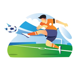 축구 선수는 게임 플레이 중에 공을 프리킥